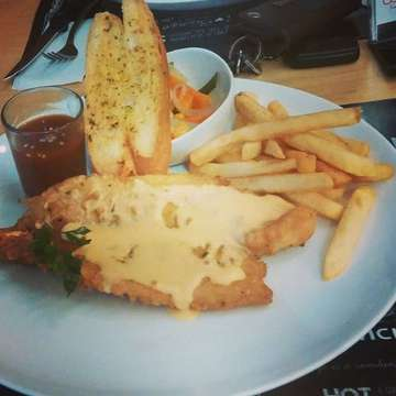 Fishes swimming in cheese and potatoes,  it is something  #bsteak #bsteakgiveaway #bsteak anniversary